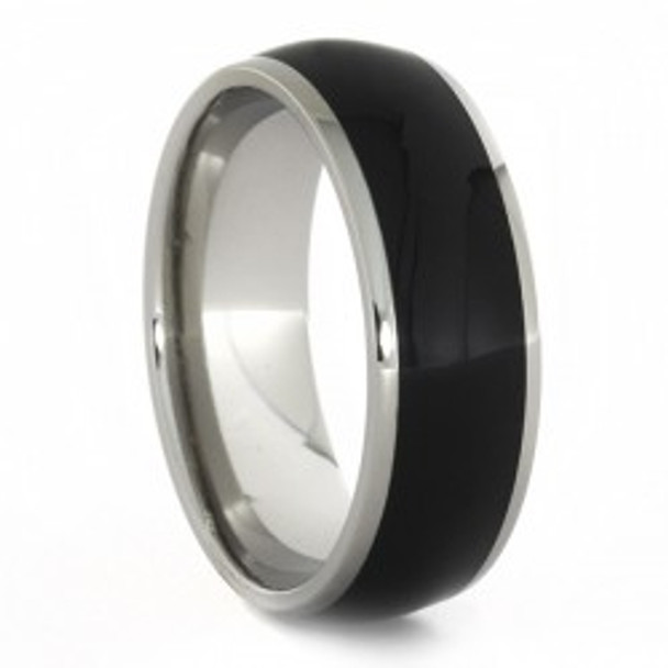 8 Mm Unique Mens Wedding Bands   Titanium U0026 Black Ebony Wood   B744M