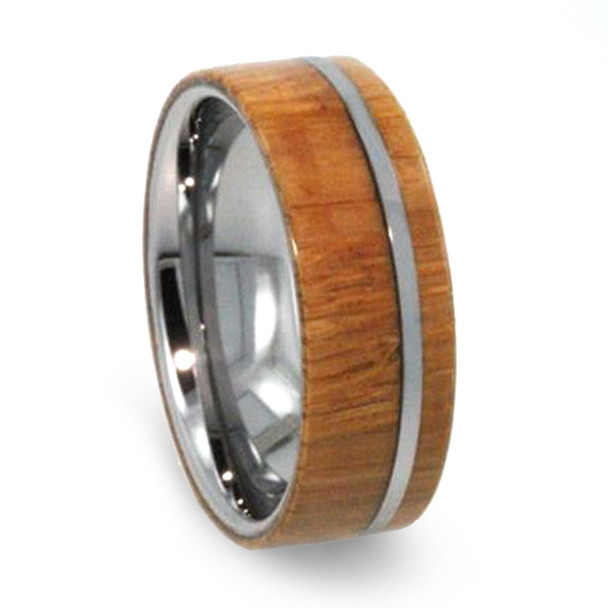 8 mm Kauri Wood Mens Wedding Bands in Tungsten - T262M