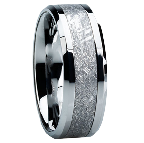 8 Mm Tungsten Mens Wedding Bands With Meteorite   T104M
