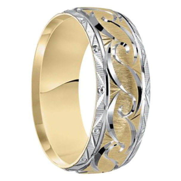 8mm Unique Mens Wedding Bands In 10kt. Two Tone Gold   Arabian