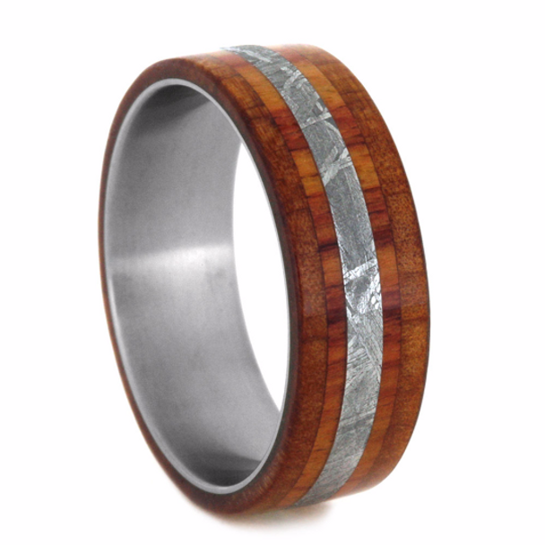 8 Mm Meteorite Cedar Ironwood Mens Wedding Bands In Anium Tw215m