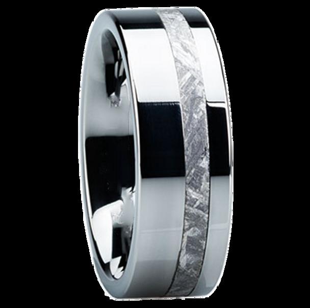 8 mm Meteorite Mens Wedding Bands in Tungsten - TM204M