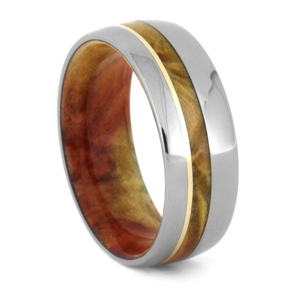 8 mm Titanium with Box Elder and 14 Kt Gold Inlay - FBE455M