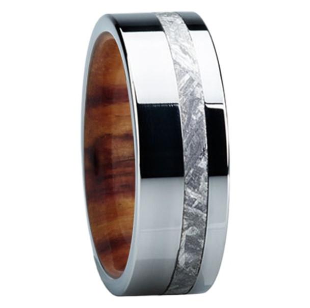 8 Mm Meteorite Mens Wedding Bands In Wood Anium E118m Ironwood