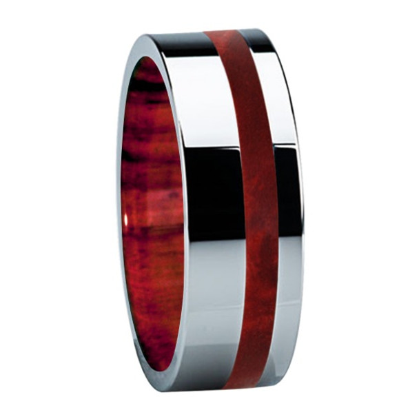 8 mm Titanium Band with Box Elder Burl Sleeve/Inlay - B122M-BEBurl - Sleeve