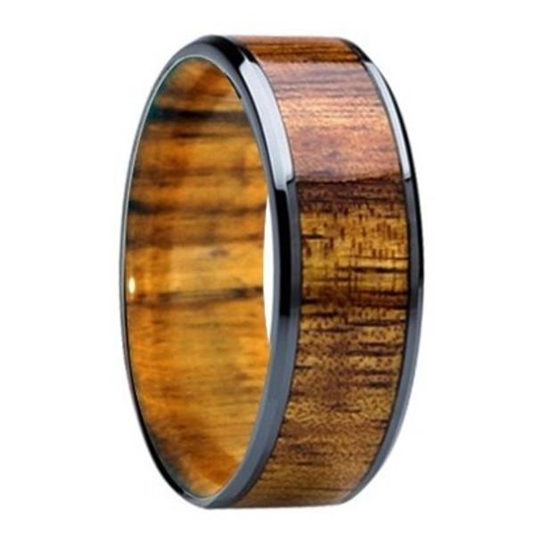 8 Mm Mens Wedding Bands Koa Wood Inlay Sleeve K121m