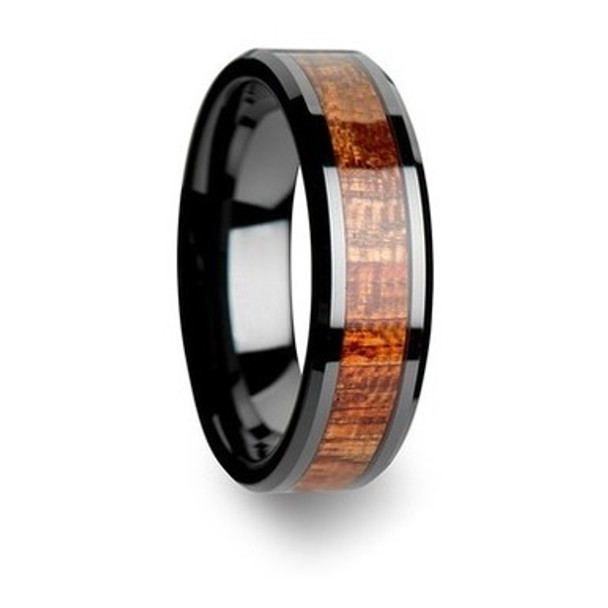 8 mm Mens Wedding Bands, Bloodwood Inlay Tungsten - S000C