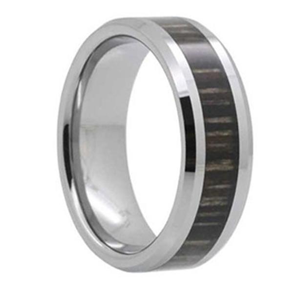 8 mm Mens Wedding Bands, Ash Wood Inlay Tungsten - L111C