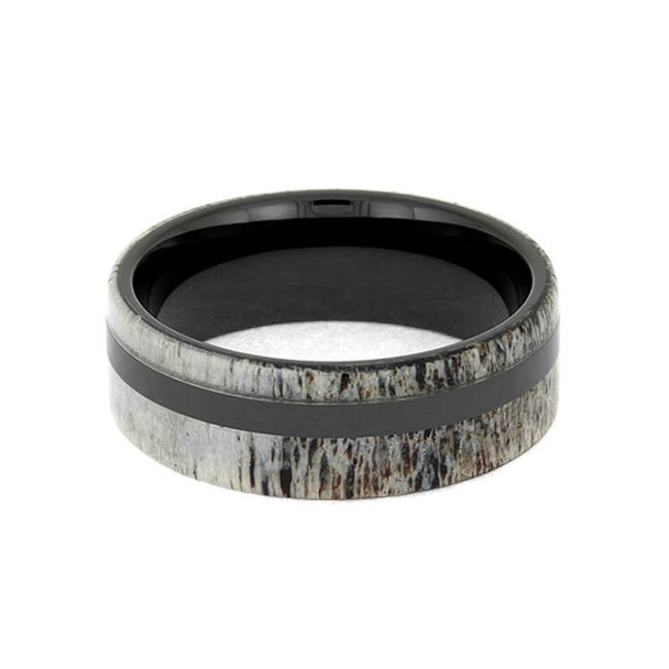 8 mm Mens Wedding Bands with Black Ceramic/Antler - DA616M