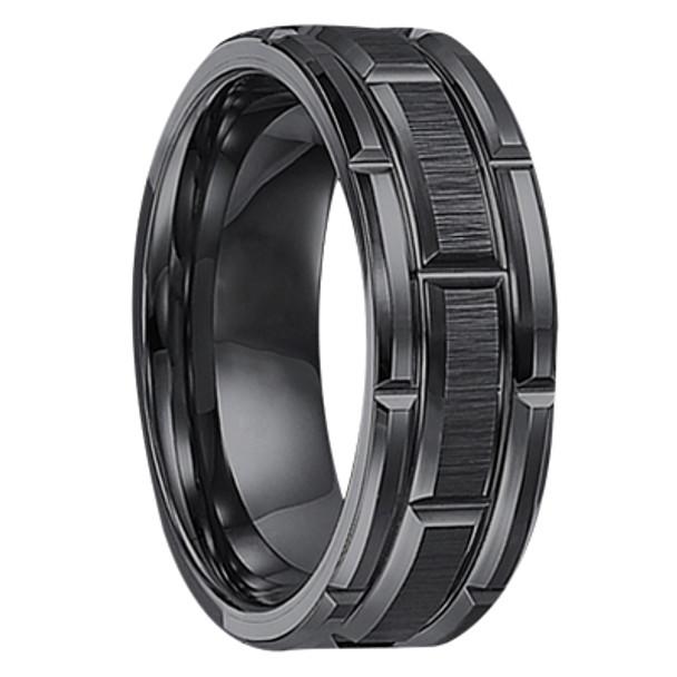 8 mm Black Tungsten Wedding Bands - U127BC