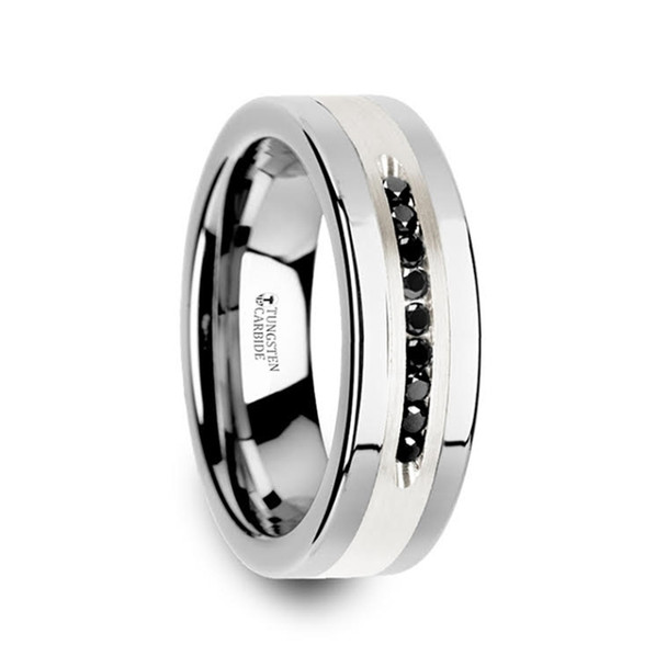 8 mm Tungsten with 9-Black Diamond Band - B925TR