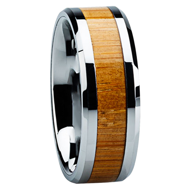 8mm Tungsten Carbide with Bamboo Inlay Z120M at MWB