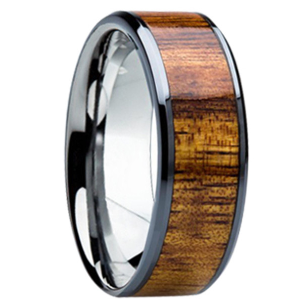 8 Mm Unique Mens Wedding Bands Koa Wood Inlay K121m