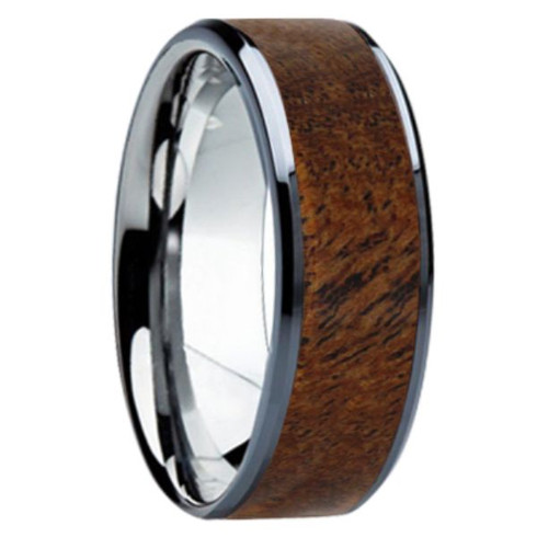 8mm Tungsten Carbide With 6mm Hawaiian Koa Wood Inlay K121m