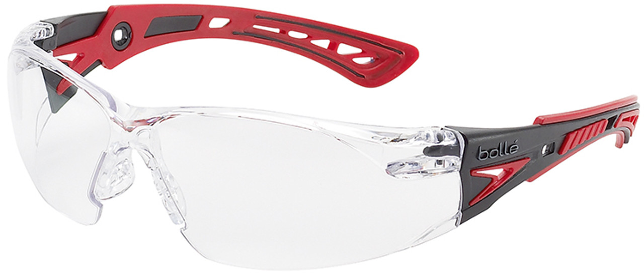 Bolle Rush Plus Safety Glasses Black Red Clear Lens Anti Fog
