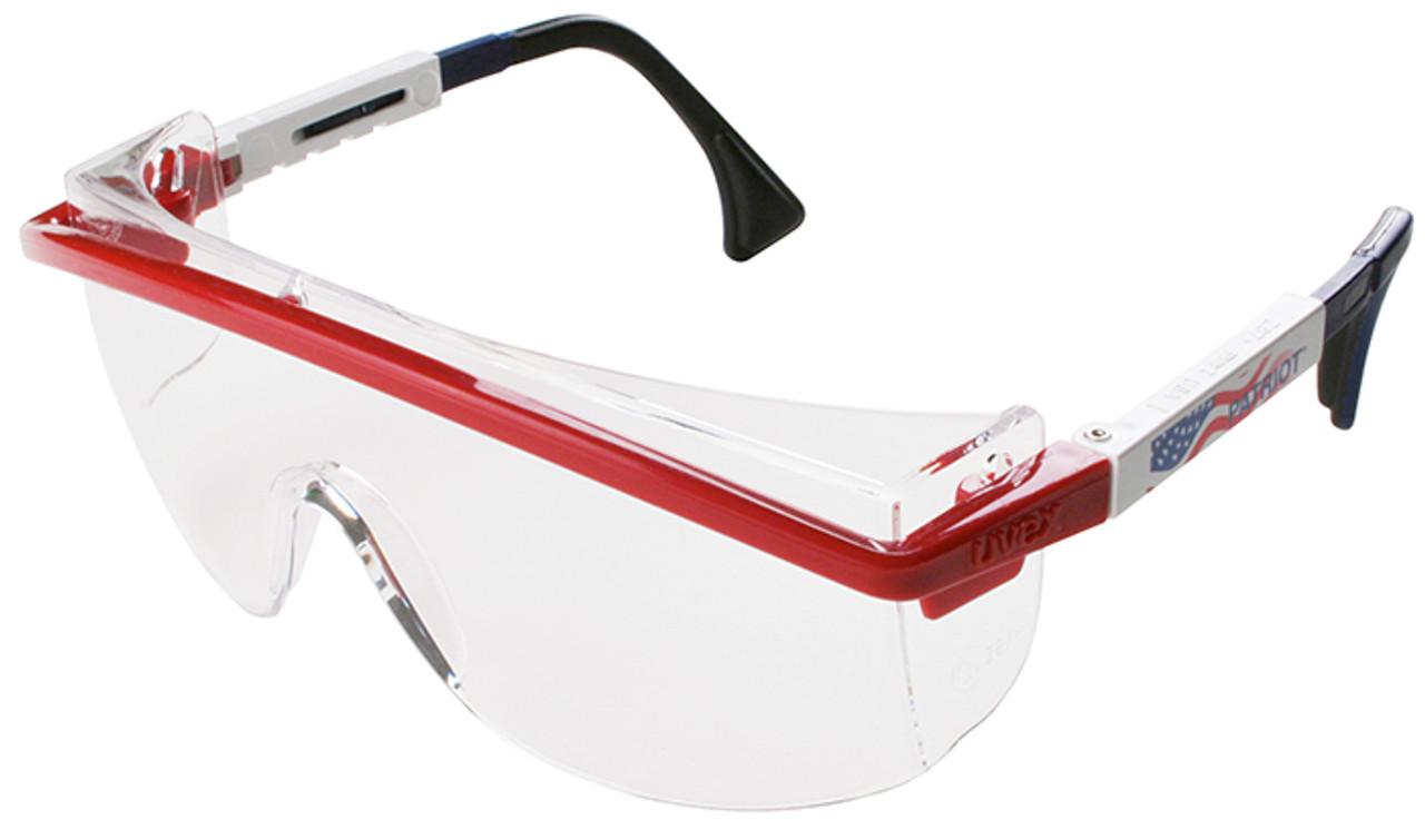 Uvex Astrospec 3000 Safety Glasses Patriot RWB Duoflex Frame Clear ...