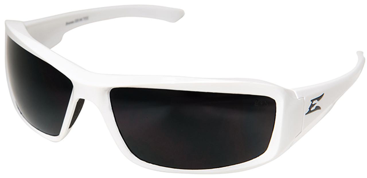 Edge Brazeau Safety Glasses White Frame Polarized Smoke Lens