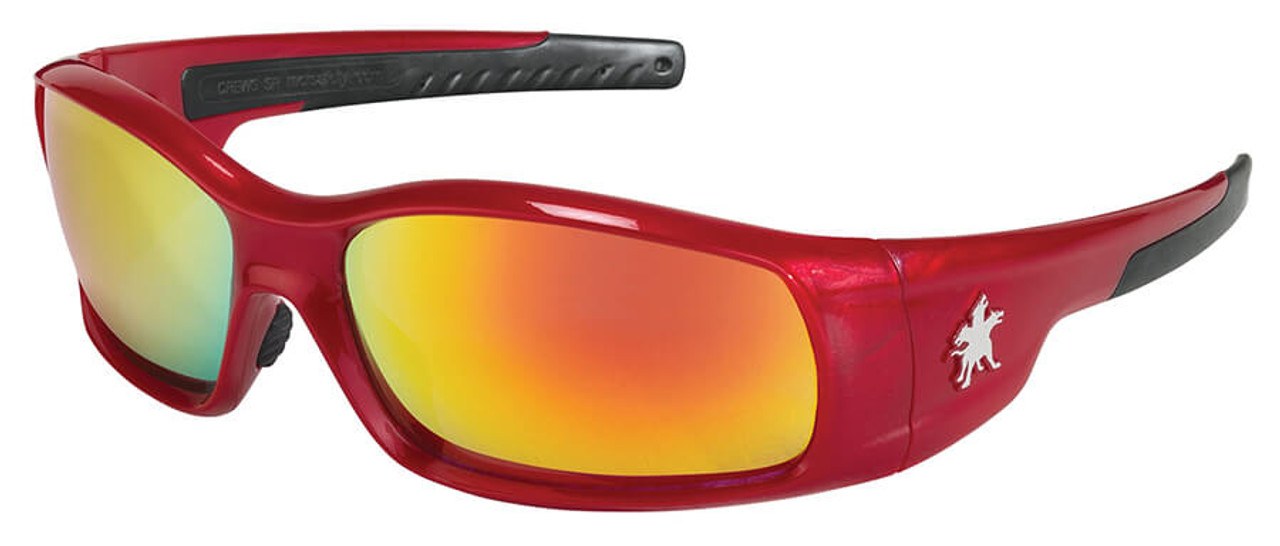 Swagger Safety Glasses, Red Frame, Clear Lens