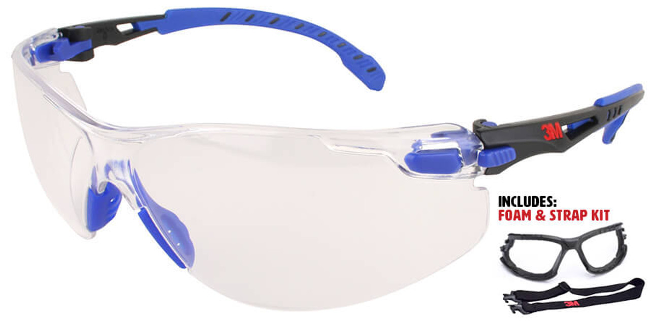 3m Solus Safety Glasses Blue Frame Clear Anti Fog Lens