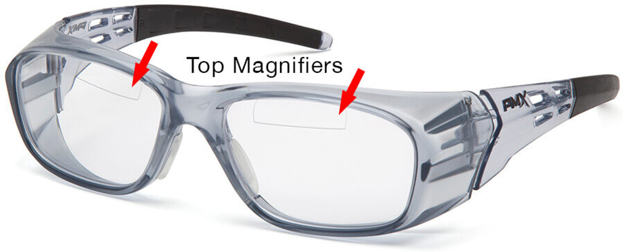 Pyramex Emerge Plus Top Bifocal Safety Glasses Gray Frame Clear Lens