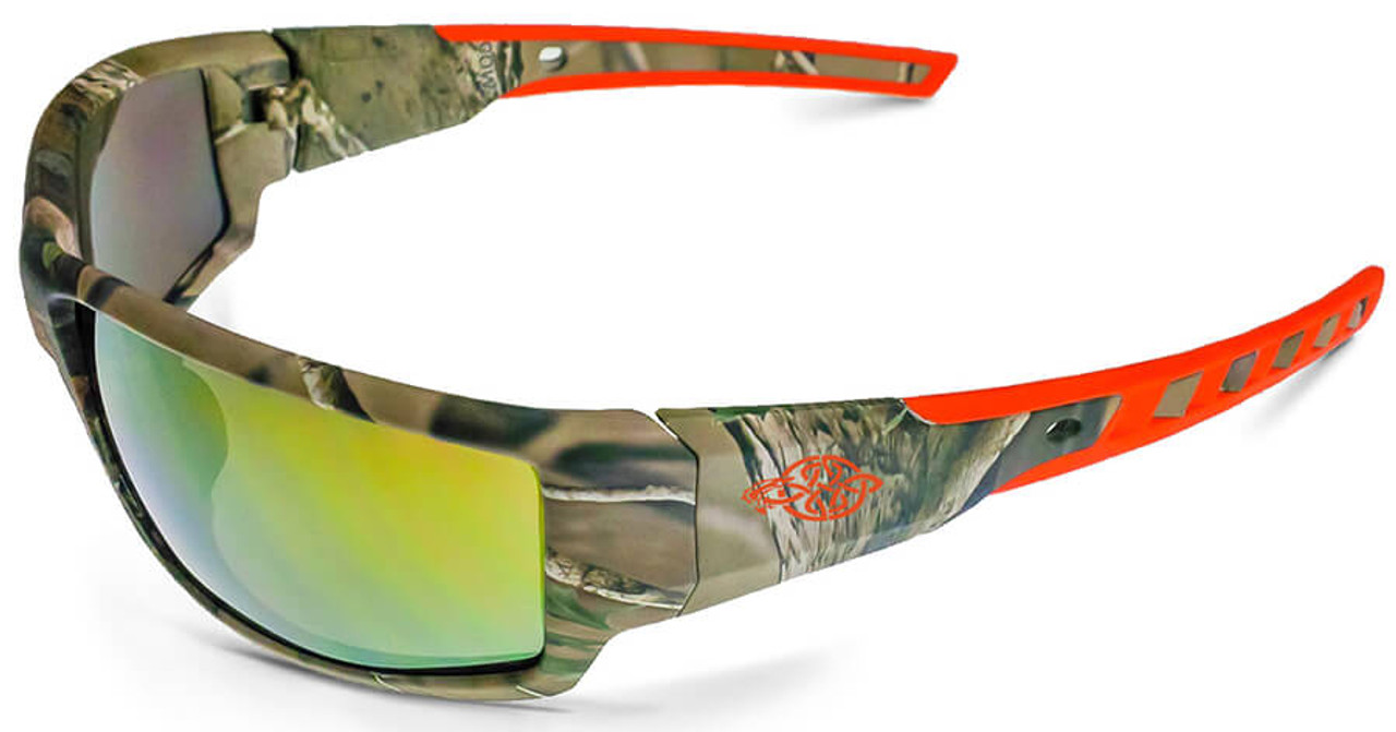Crossfire Cumulus Safety Glasses Camo Frame Gold Mirror Lens