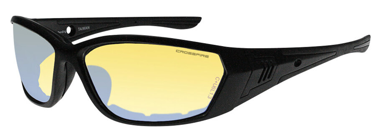 Crossfire 710 Foam Lined Safety Glasses Black Frame Indoor-Outdoor ...