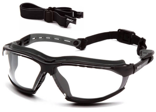 Pyramex Isotope Convertible Safety Glasses/Goggles with Black Frame and Clear Anti-Fog Lens