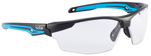 Bolle Tryon Safety Glasses with Black & Blue Frame and Clear Platinum Anti-Fog Lens