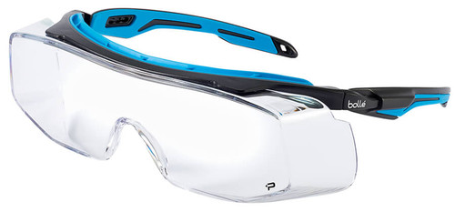 Bolle Tryon Safety OTG Glasses with Black & Blue Frame and Clear Platinum Anti-Fog Lens