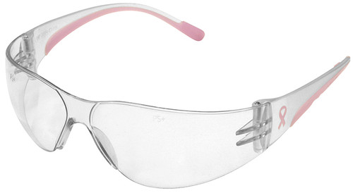 Bouton Eva Petite Women's Safety Glasses with Pink Temple Trim and Clear Anti-Fog Lens