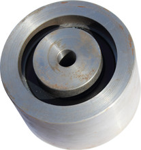 Flat belt idler pulley for portable sawmills