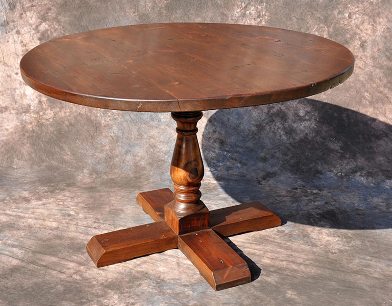 Round Classic Farmhouse Pedestal Table Custom Sizes Available