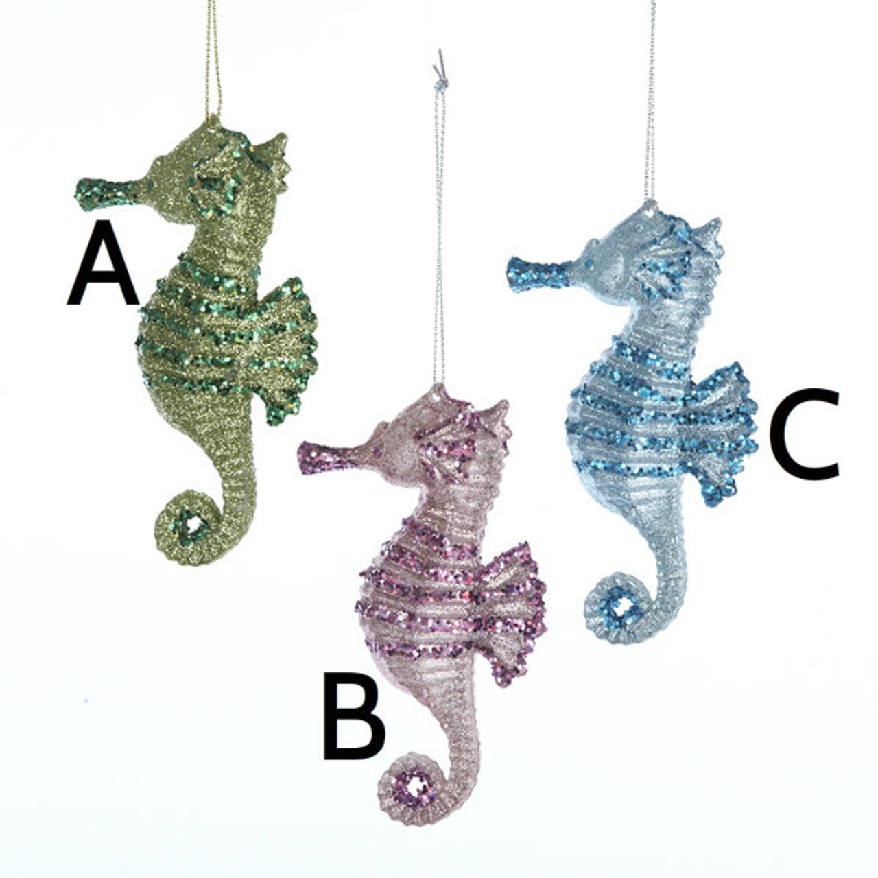 seahorse ornaments assorted 3 colors - Seahorse Christmas Ornament