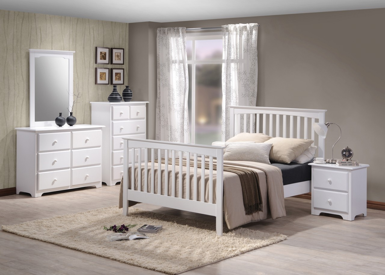 white painted mission bedroom set solid birch  country