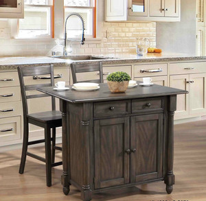 Gray Kitchen Island With Storage Ladderback Barstools Sold Separately