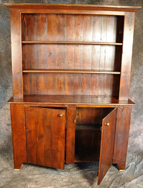 Rustic Reclaimed Wood Stepback Hutch Flat Panel Door 51in