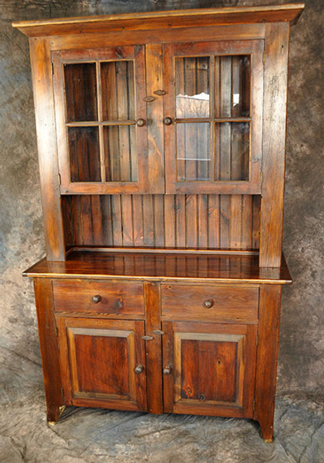 Rustic Reclaimed Wood Stepback Hutch with Glass Doors 51