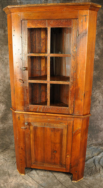 Rustic Reclaimed Corner Hutch with Glass Door u0026 Raised Panel Door Custom sizes available & Rustic Reclaimed Corner Hutch