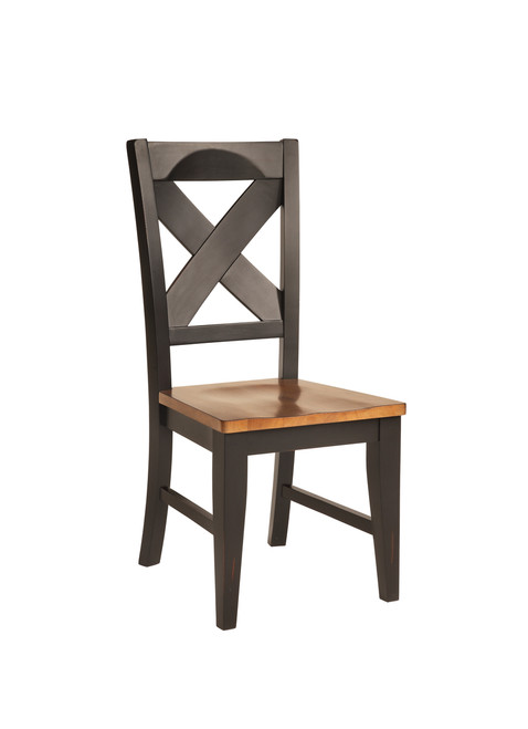 Pecan & Black  X Back Solid Wood Chair