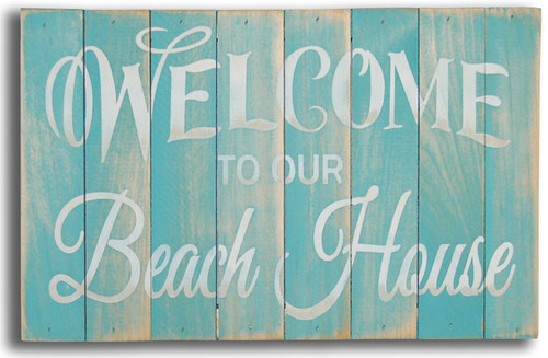 Welcome To Our Beach House Wood Slat Sign