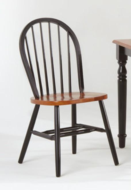 Dowel Windsor Chair Black & Cherry Two Tone