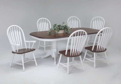White  & Cherry Finish Solid Birch Construction Double Pedestal Table