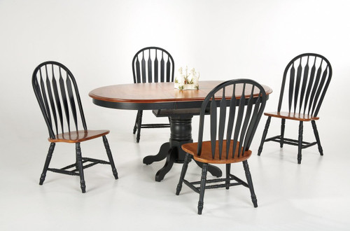 42in. x 54in. Solid Birch Oval Single Pedestal Table + 4 Monarch Chairs