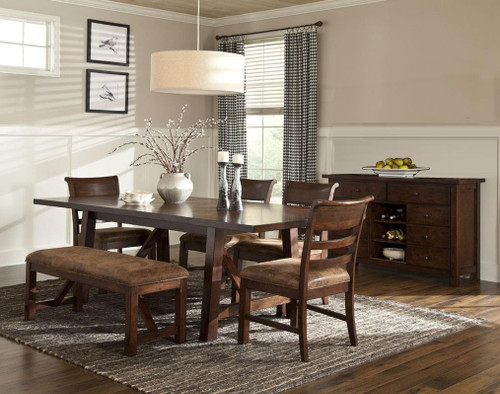 """Rustc Canyon 40"""" x 84"""" Solid Oak Dining Table with two 10"""" leaves  Opens to 40"""" x 104"""" length Seats 10-12 people"""