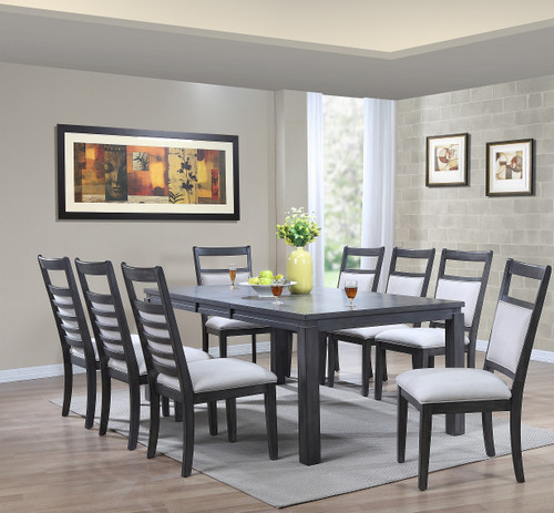 """Steel Gray Wood Dining Set Newport Collection 42""""W x 64""""L Table with Self Storing 18"""" Butterfly leaf Table opens to 42""""W x 82""""L - comfortable seating for 6-8"""