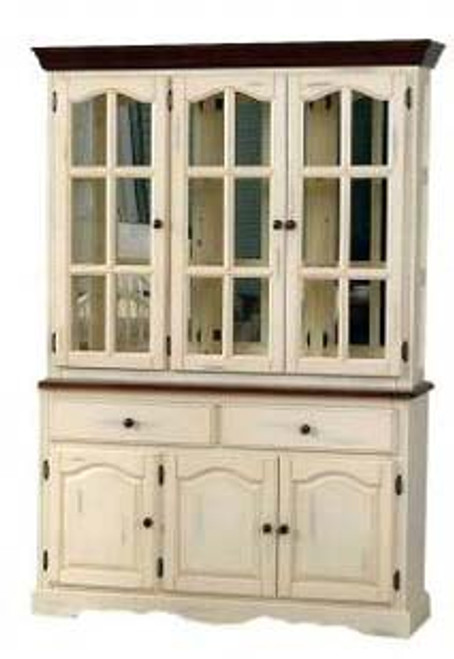 55in Mirrored Traditional Hutch Buttermilk And Cherry Danielson
