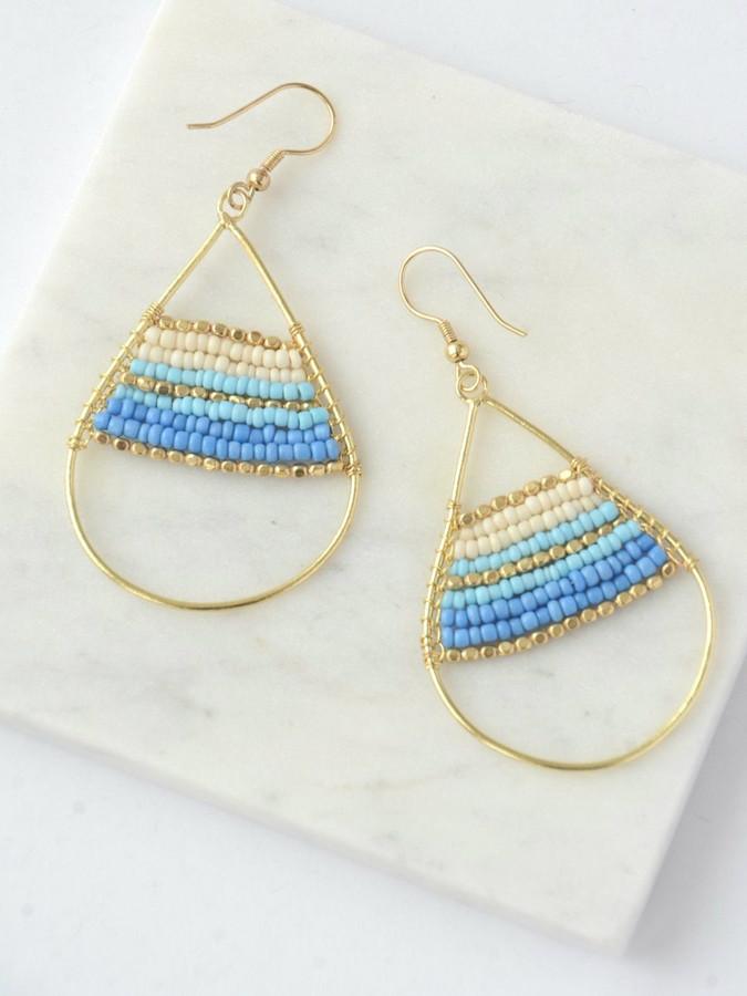 Hidden Treasure Beaded Earrings - Blue