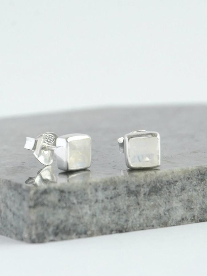 Crystal Waters Sterling Studs - Moonstone