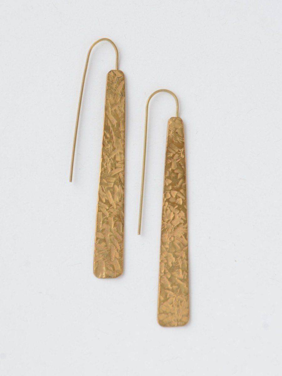 recycled long brass earrings made fair trade in Chile | Fair Anita