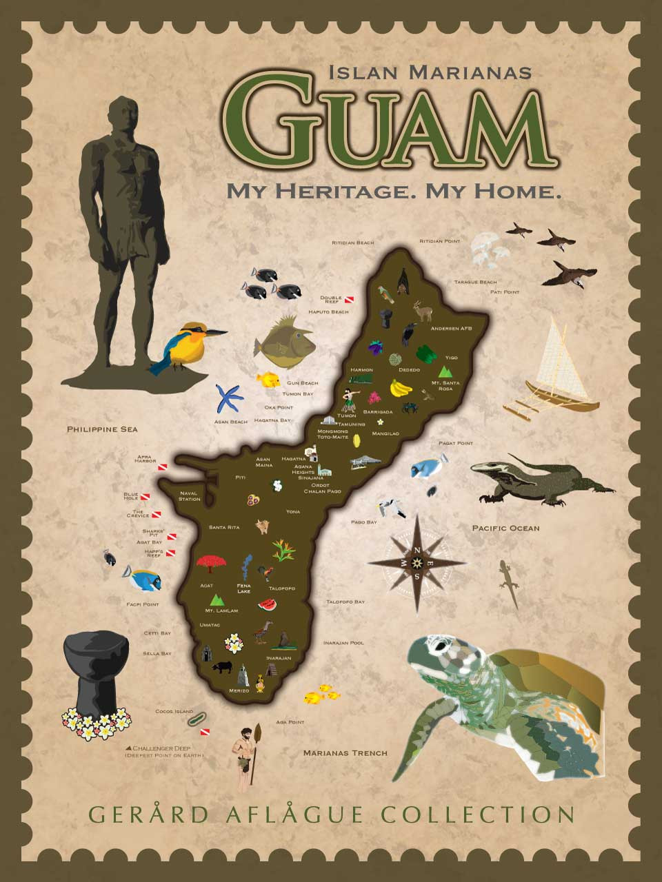 My Heritage My Home Cultural Guam Map Poster